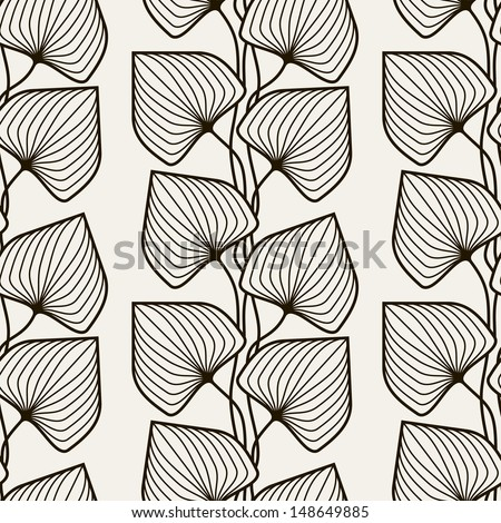 Vector seamless pattern.  Floral stylish background. Graphically print with stylized leaves. Repeating texture - stock vector