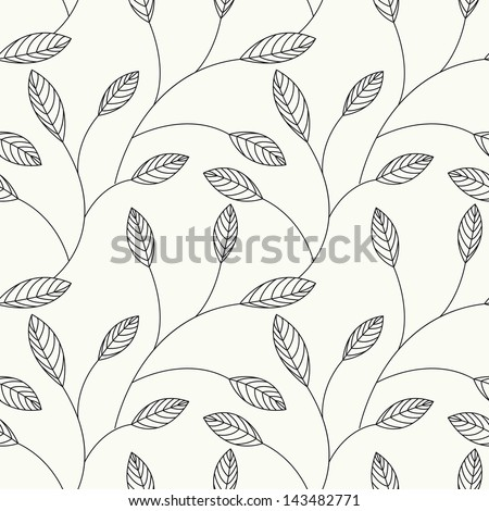 Vector seamless pattern. Floral stylish background with graphic leaves - stock vector
