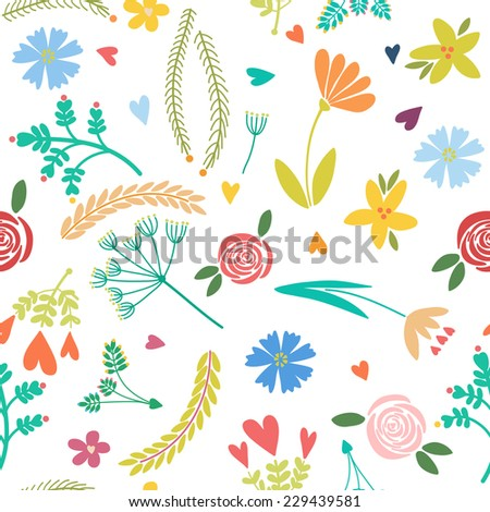 Vector seamless pattern, floral texture with leaves, flowers and plants.  Floral ornament. Original floral background. Isolated on the white background