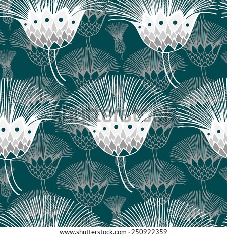 Vector seamless pattern. Floral turquoise background. Hand drawn elements.  - stock vector