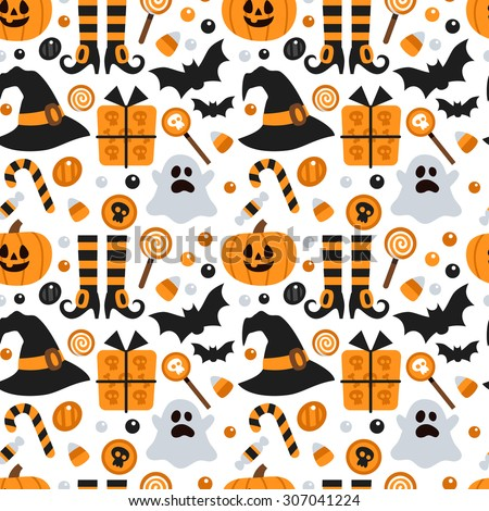 Vector Seamless Pattern Halloween Pumpkin Ghost Stock Vector ...