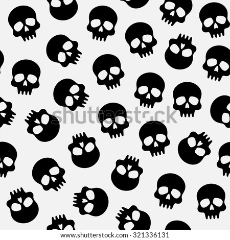 vector seamless pattern for Halloween, scrapbooking paper with skulls - stock vector
