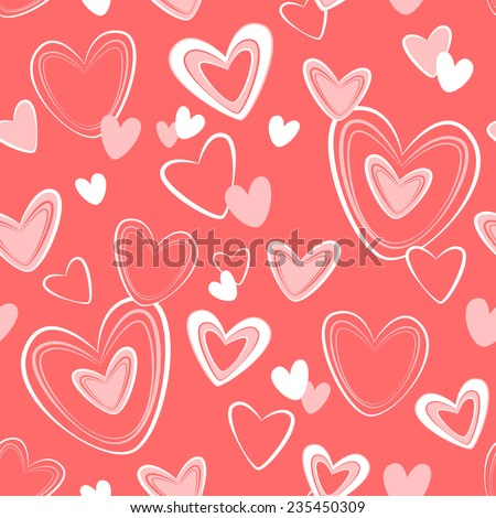 Vector seamless pattern for Valentine's Day with hearts on dark