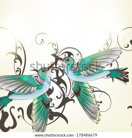 Vector seamless pattern for wallpaper design with birds - stock vector