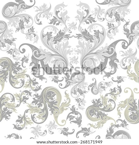 Vector seamless pattern for wallpaper design with floral swirls - stock vector
