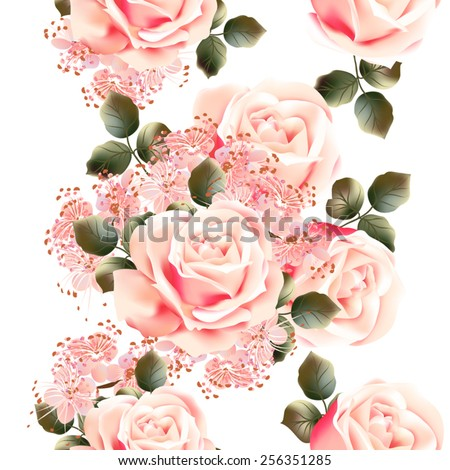 Vector seamless pattern for wallpaper design with flowers - stock vector