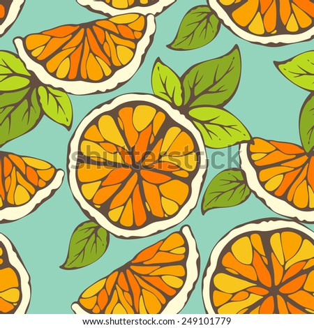 Vector seamless pattern full slice & half slice orange - stock vector