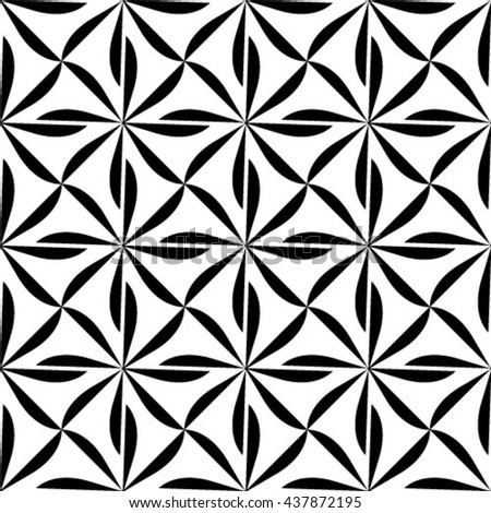 Vector seamless pattern, geometric background black and white - stock vector