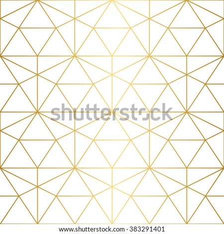 Vector seamless pattern. Geometric background with rhombus and nodes.  Abstract geometric pattern. Golden