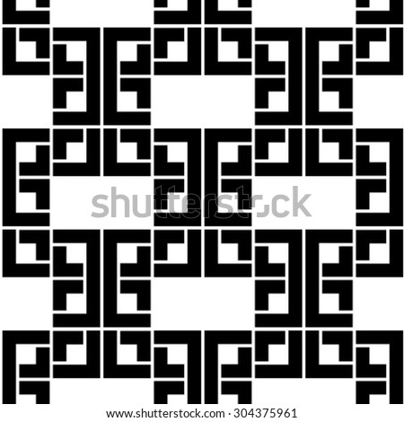 Vector seamless pattern - geometric modern hexagon polygon black and white background - stock vector