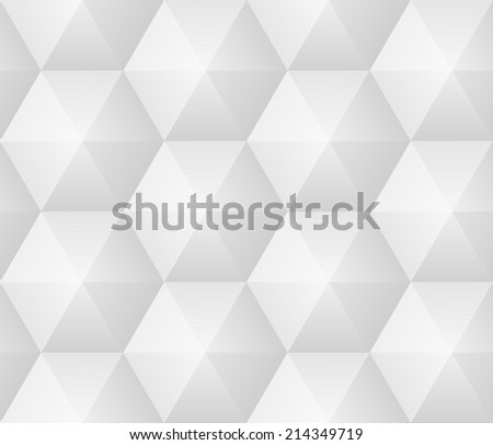 Vector seamless pattern - geometric modern hexagon polygon gray background - stock vector