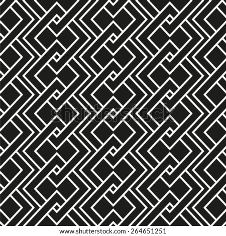Vector seamless pattern, geometric ornament. Monochrome braids.
