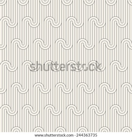 Vector seamless pattern. Geometric striped ornament. Monochrome background with linear winding diagonal flow - stock vector