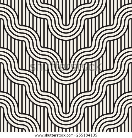 Vector seamless pattern. Geometric striped ornament. Monochrome background with linear winding wavy flow - stock vector