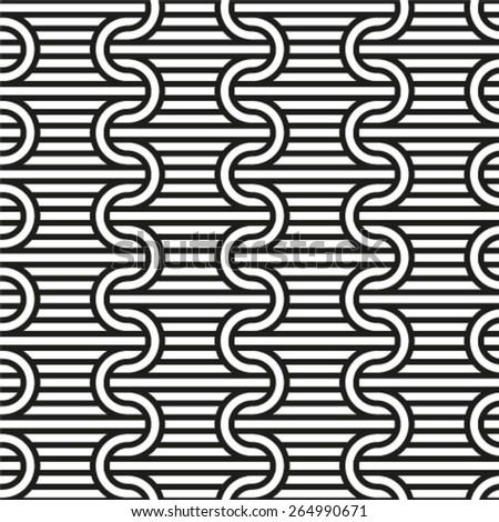 Vector seamless pattern, geometric striped ornament. Monochrome linear braids  - stock vector