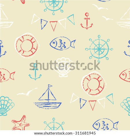 Vector seamless pattern. Grungy sketch illustration. Nautical sea background. Anchor, fish, boat, shell, gull and starfish in red, blue and white on sandy yellow.