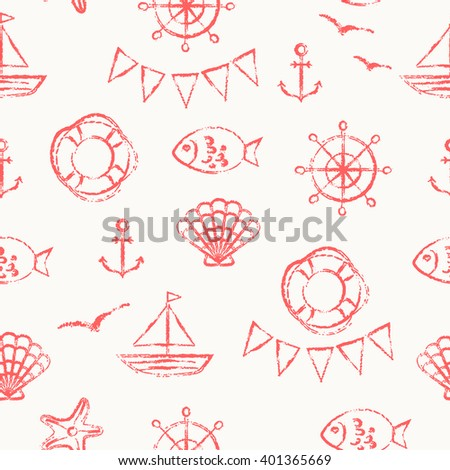 Vector seamless pattern. Grungy sketch illustration. Nautical sea background. Anchor, fish, boat, shell, gull and starfish in red on white background.