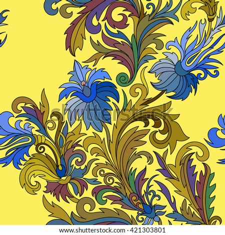 Vector seamless pattern. Hand drawn doodle style fantasy flowers. Green blue on yellow background. Design for fabrics, textiles, paper, wallpaper, web. Vintage. Floral ornament.