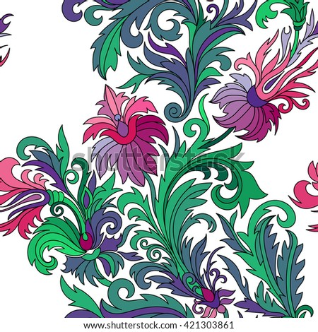 Vector seamless pattern. Hand drawn doodle style fantasy flowers. Lilac pink green blue on white background. Design for fabrics, textiles, paper, wallpaper, web. Vintage. Floral ornament.
