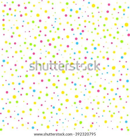 Vector seamless pattern. Hand drawn polka dot texture. Stylish colorful doodles. Hipster creative print.