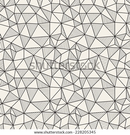 Vector seamless pattern. Hand drawn repeating texture with linear triangles. The alternation of empty and striped triangles - stock vector