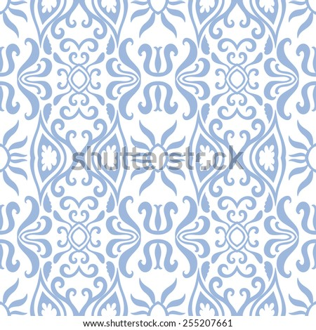 Vector seamless pattern, hand drawn sketch, tribal ethnic ornament, fabric texture. Monochrome background. - stock vector