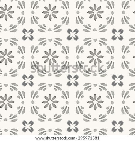 Vector seamless pattern. Hand drawn watercolor oriental ornament with floral and geometric elements. Rustic monochrome decoration. For cards, banners, ethnic backgrounds. - stock vector