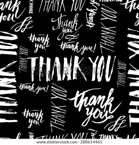 Vector seamless pattern handmade lettering signs THANK YOU - stock vector