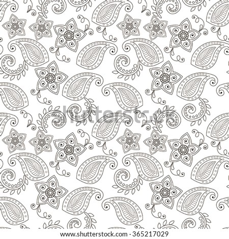 Vector seamless pattern henna Mehndi tattoo flowers drawings illustration elements design elements