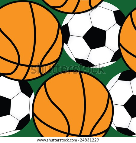 Vector seamless pattern-illustration of basketball and soccer balls - stock vector