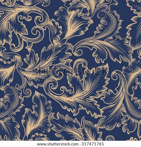 Vector seamless pattern in Baroque style. Vintage background for invitation, fabrics