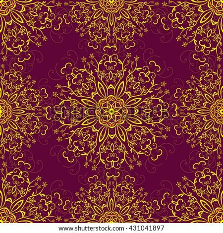 vector seamless pattern boho style henna stock vector