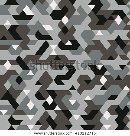 vector seamless pattern in camouflage style, pixel pattern textile, abstract background - stock vector