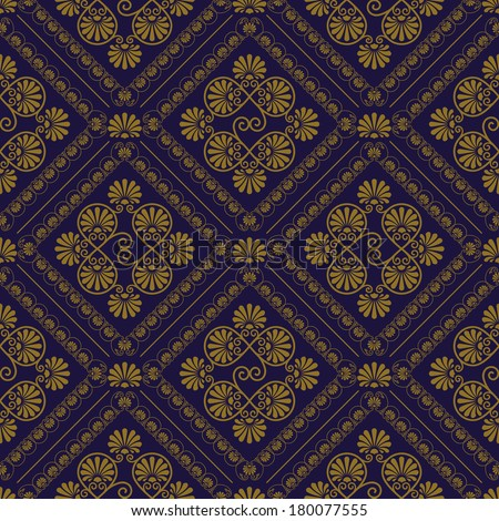 vector seamless pattern in eastern style, seamless pattern in swatch menu - stock vector