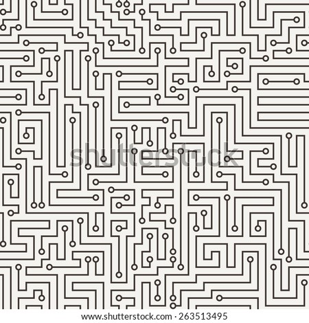 Vector seamless pattern in the form of a labyrinth or a computer motherboard - stock vector