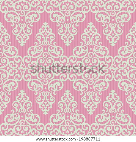 Vector seamless pattern in Victorian style. Element for design. Ornamental backdrop. Light lace background. Ornate floral decor for wallpaper. Endless texture. Bright pink pattern fill. - stock vector