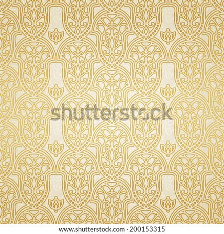 Vector seamless pattern in Victorian style. Golden element for design. Ornamental backdrop and light lace background. Ornate floral decor for wallpaper. Endless texture. Monochrome pattern fill.