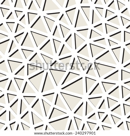 Vector seamless pattern. Irregular abstract linear grid. Graphical hand drawn background. Reticulated monochrome texture. Irregilar triangles with flat shadow - stock vector