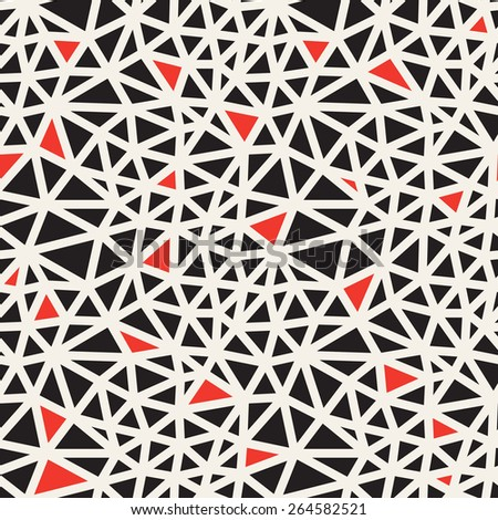 Vector seamless pattern. Irregular abstract linear grid. Graphical hand drawn background. Reticulated hand-drawn texture and red accents. Hipster modern print. Contemporary graphic design  - stock vector