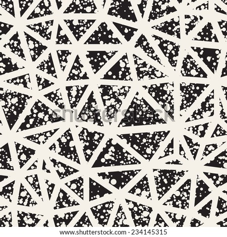 Vector seamless pattern. Irregular abstract linear grid. Graphical hand drawn background. Geometric monochrome texture. Chaotic speckled covering - stock vector