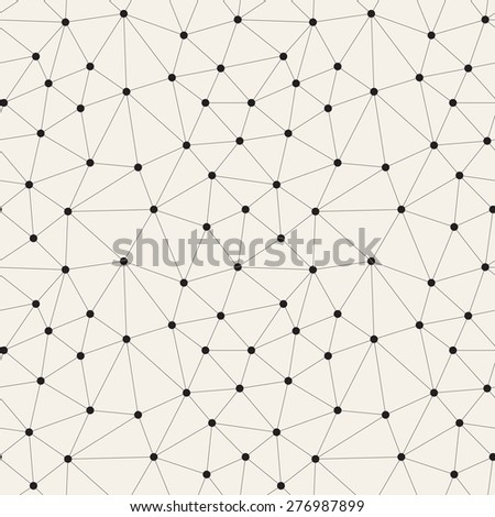 Vector seamless pattern. Irregular abstract linear grid with circles in nodes. Graphical hand drawn background. Reticulated monochrome texture. Trendy hipster graphic design. - stock vector