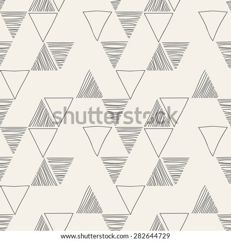 Vector seamless pattern. Irregular abstract linear triangles. Graphic hand drawn background. Doodle monochrome texture. Repeating sketch with empty and hatched triangles. - stock vector