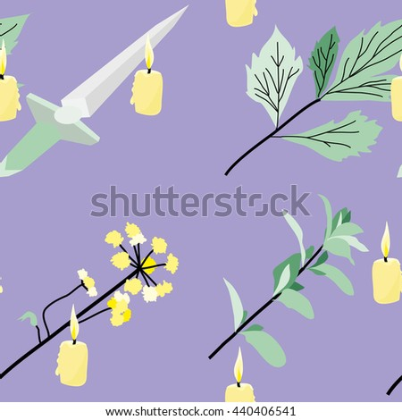 Vector seamless pattern. Items for magic ritual: knife, candle, plants. - stock vector