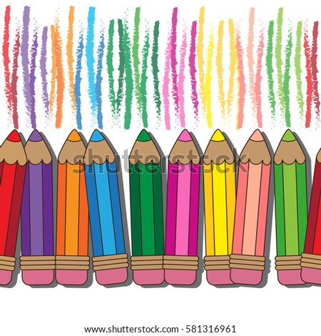 vector seamless pattern kids doodle colorful pencils - Cartoon Pictures Of Crayons