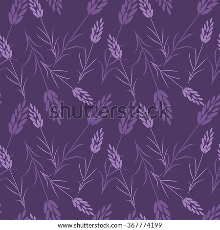 Vector seamless pattern.Lavender, herbs, Provence. Purple background - stock vector