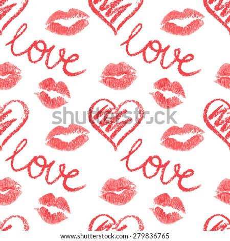Vector seamless pattern, lips prints on white background - stock vector
