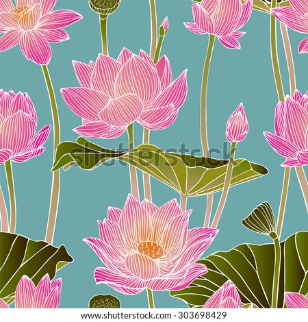 Vector seamless pattern - lotus flowers - stock vector