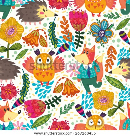 Vector seamless pattern made from forest animals like a fox, owl, hedgehog and flowers.  - stock vector