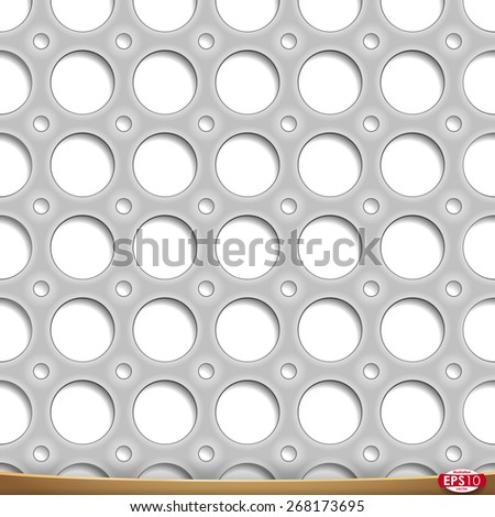 Vector seamless pattern. Metal perforated plate. Circle hole structure with shadows layer. Grayscale industrial surface illustration on white background. - stock vector