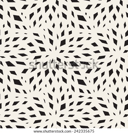 Vector seamless pattern. Modern floral texture. Endless abstract background. Monochrome print with chaotic geometric elements which form stylized flower - stock vector
